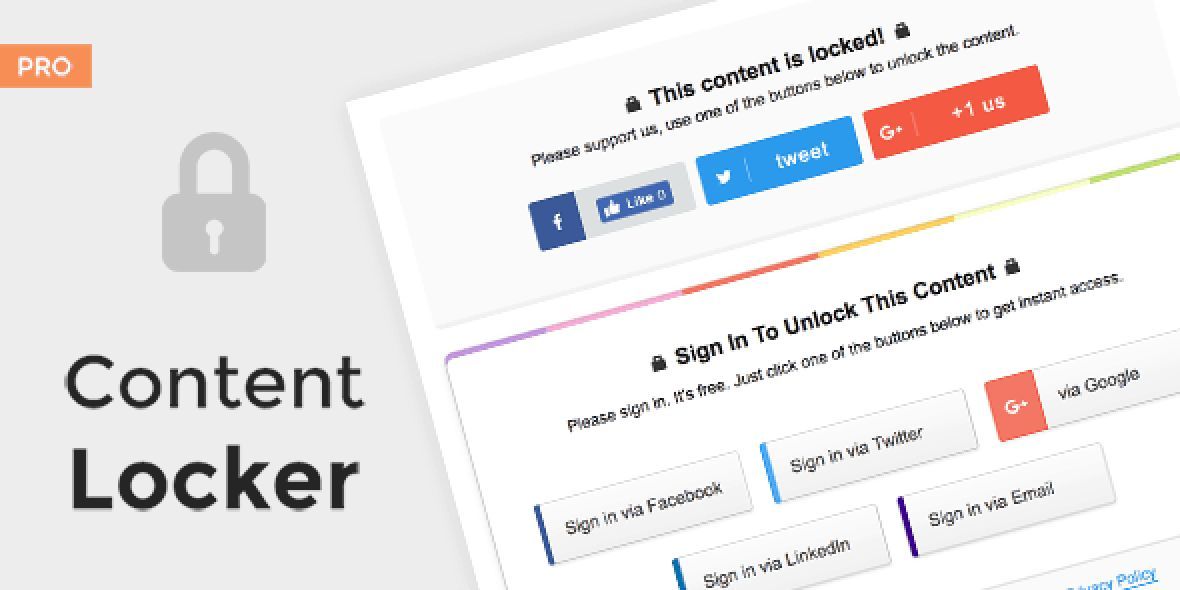 Content Locker Pro version v1.0.16 (Sep 19, 2018)